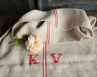Nr. A 208:  antique BRIGHT RED grain sack upholstery fabric 22.44 wide flour sack, pillow case