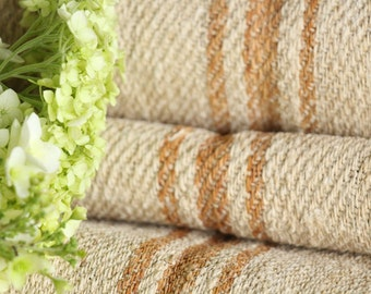 R 244 antique hemp french faded CARAMELL lin upholstery 4.80yards handloomed STAIRUNNER benchcushion Beachhouse look