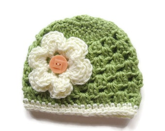 Ready To Ship -  Crocheted Baby Girl Hat - Crochet Sage Green and Cream Baby Hat - Size 0 to 3 Months Hat - Sage Baby Beanie