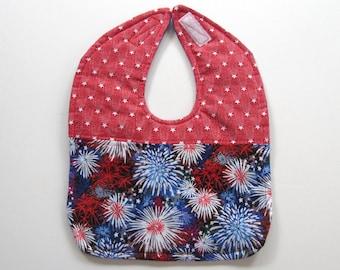 Ready To Ship Patriotic Patchwork Reversible Baby Bib - Fourth of July Baby Bib - Red White and Blue Baby Bib - Fireworks  Bib #67