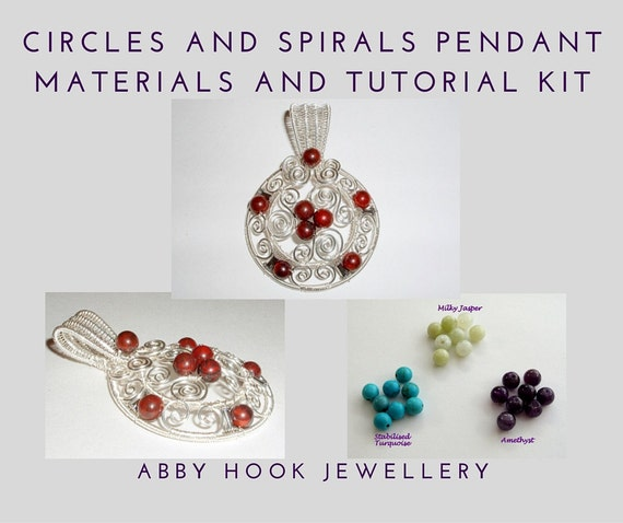 Circles and Spirals Pendant Materials and Tutorial Kit - Wire pendant jewelry kit