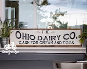 "Hand Painted Sign, Wooden With Trim, 36""x9"" DAIRY CO. Sign, Black Lettering, Vintage Inspired, Blogger, Gallery Wall"