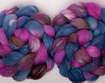 British Shetland Tussah Silk handpainted roving tops 100g spinning Fibre Fiber