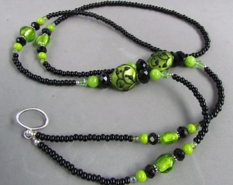 Black and Lime Green Lampwork Beaded ID Lanyard, Floral Design, Handmade by Harleypaws, SRAJD