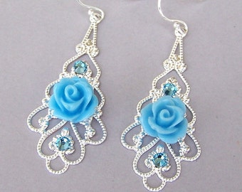 Cornflower blue earrings, blue flower earrings, blue silver filigree earrings, blue rose earrings