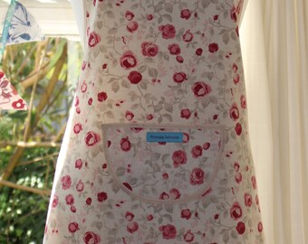 Among the Roses -Cream Edge, Floral Print Apron.  Womens Full Apron
