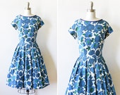 50s blue floral dress, vintage 1950s cotton floral dress, blue and white rose print dress, large l