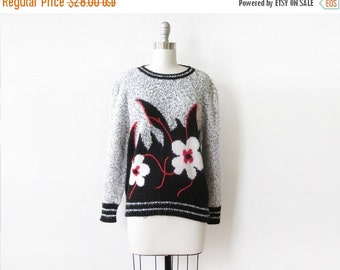 5O% OFF SALE vintage floral sweater, 80s flower print sweater, large pullover knit sweater