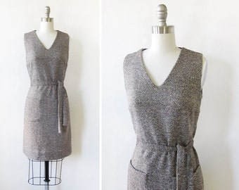 60s tweed dress, vintage 1960s wool jumper, vintage mod mini dress,, extra small xs
