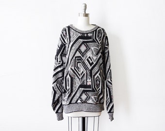 vintage sweater, 80s London Fog graphic sweater,  black and white rainbow slouchy sweater