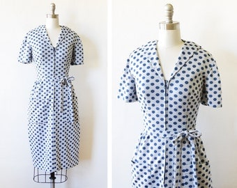 polka dot dress, 1960s mod scooter dress, vintage 70s mod dress, medium