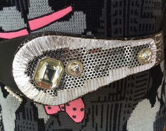 Ultimate Vintage 80's Belt Black & Silver Fashion Accessory with Large Rhinestones Totally Awesome