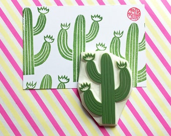 desert cactus hand carved rubber stamp. succulent stamp. garden stamp. birthday scrapbooking. holiday crafts. diy gift wraps. extra large