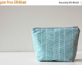 ON SALE Zipper Pouch Cosmetic Bag - Turquoise Herringbone - Ready to Ship