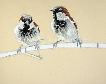 Sparrows - Embroidered Textile Art Canvas