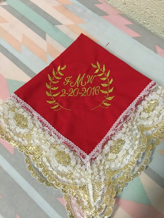 Custom Personalized Wedding Handkerchief Gold Silver Wedding