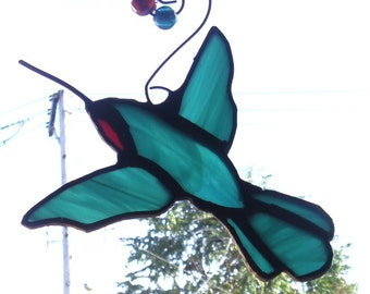 Stained Glass Petite Ruby Throated Hummingbird with Glass Bead Hanger Suncatcher/Ornament