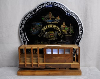 Vintage San Francisco Cable Car Night Light/Vintage 1960s/Hand Crafted Wood TV Console Lamp