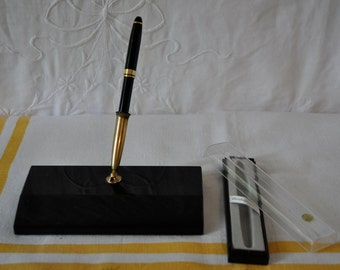 Vintage Desk Pen Holder/Vintage c. 1960s/Sleek Retro Desk Accesory