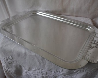 Art Deco Vintage Aluminum Tray With Sailing Ships and Whale/Vintage 1940s 1950s/Extra Large Kensington Bar Tray
