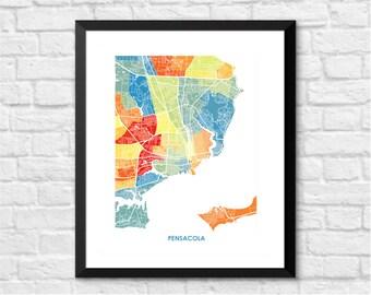 Pensacola Map Print.  Pick your colors and size.  Florida Housewarming Gift.  FL Artwork.