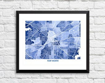 Fort Worth Map Print.  Choose the Colors and Size.  Texas City Art Poster.  Show your Local TX Love.