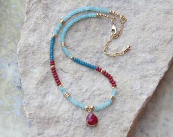 Ruby Necklace, Apatite Necklace, Red Ruby Necklace, July Birthstone, Ruby Jewelry, Boho Necklace, Sundance Style Jewelry