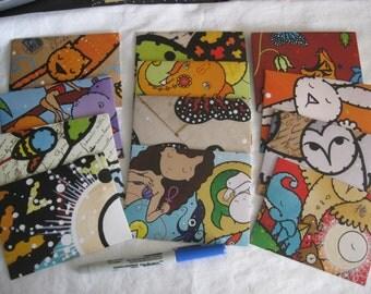 Envelopes, hand crafted from an art calendar, ooak, 13 envelopes