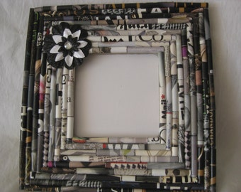 Paper anniversary gift, Picture frame, upcycled, hand rolled magazine paper picture frame, shades of gray to black, ooak, home decor, gift