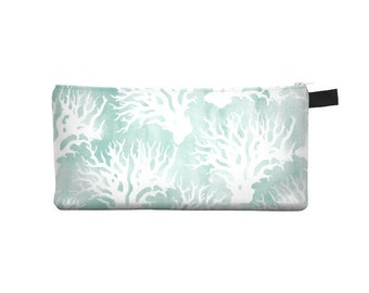 Aqua Coral Pencil Case - Free shipping USA and Canada