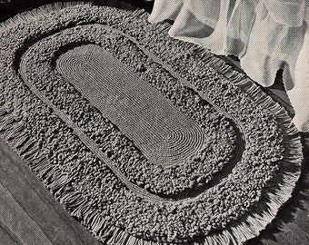 The oval loop stitch rug rug - Vintage PDF Crochet Pattern - instant download