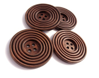 1.5 inch buttons - Reddish brown wooden sewing buttons 38mm - set of 4  (BB132CB)