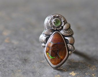 Sterling Opal Ring, Tourmaline Ring, Oxidised Sterling Silver Ring, Gemstone Metalwork Ring