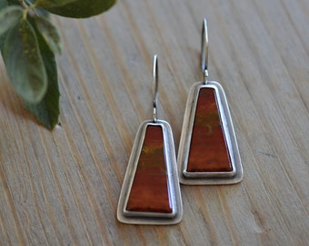 xX BENCH TIDY SALE Xx Sterling Jasper Earrings, Sterling Silver Earrings, Gemstone Dangly Earrings