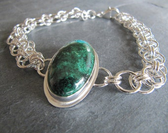 Bracelet of Chrysocolla and Helm Weave Silver Chain