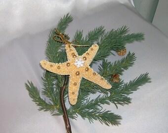 Christmas Ornament, Beach Wedding Favor or Ornament, Sugar Starfish Ornament