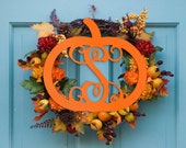 Personalized Pumpkin Monogram Wood Sign Wreath Fall Decoration