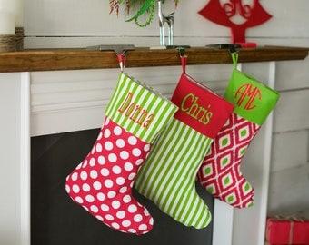 Personalized Monogram Christmas Stocking - Burlap