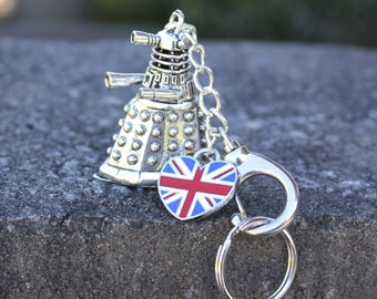 EXTERMINATE! Dalek Keychain with Heart Shaped Union Jack- For Doctor Who Fans - make a Whovian happy- Free Shipping USA - Dr Who