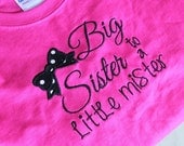 Big Sister To A Little Mister, Little Brother Embroidered Monogrammed Customized Toddler, Youth Short Sleeve T-Shirt, Baby Announcement