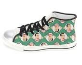 PEE WEE HERMAN women's hi top sneaker shoes... original illustration