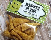 Personalized Halloween Monster Claws Treat Bag Toppers and Bags