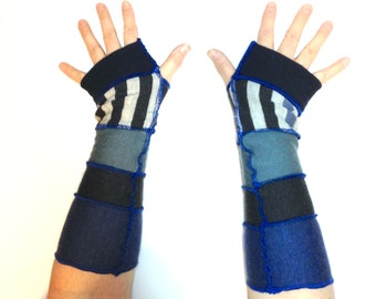 Blue and Grey Recycled Merino Wool Arm Warmers Fingerless Gloves
