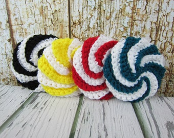 Spiral Kitchen Scrubbies, Crochet Srub Pads, Spiral Scrubbies, Housewarming Gift, Crochet Gift Idea, Yellow Red Black Teal White Scrub pads