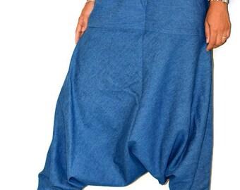 Denim Harem Pants,Hippie Pants,Gypsy Pants,Romper,Genie pants,yoga pant,Bohemian pants,wide leg pants,Denim pants,jeans, harem pants,Denim
