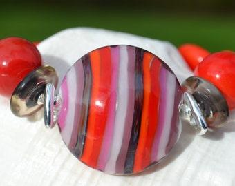 CURIOSITY-Handmade Lampwork and Sterling Silver Bracelet
