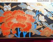 1 DAY SALE Vintage Tissue Holder Mirror Box, Orange,white, gold Flowers