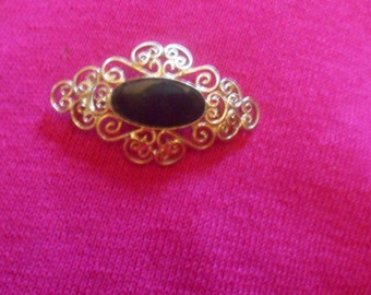 Vintage Victorian Style Brooch, Black Stone Pin