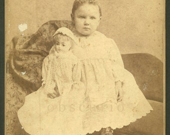 Child w/ French Doll - Elmira, NY - Antique Cabinet Card