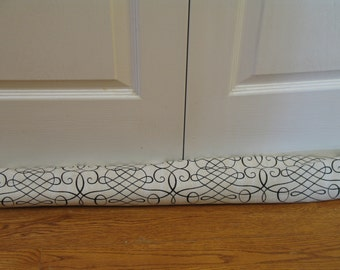 Waverly Door Draft Stopper,  Window Door Snake  Draft Excluder Energy Saver Tan with Black Swirls